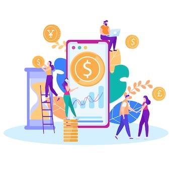 Zeit-geld-management-online-kontrolle im flachen stil