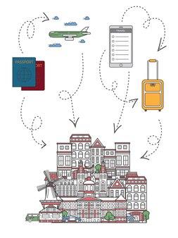 Zeit, illustration in der linearen art zu reisen
