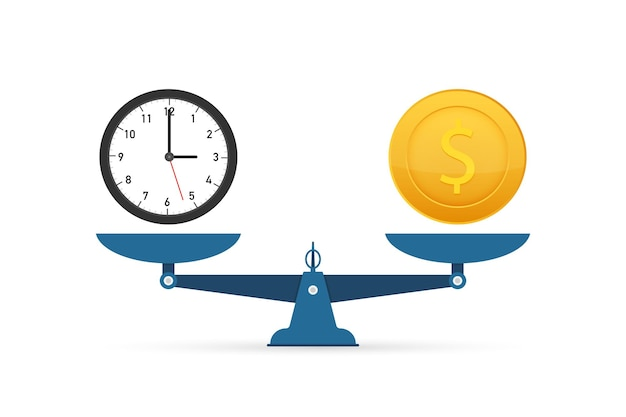 Zeit ist geld auf waage-symbol. geld- und zeitbilanz im maßstab. vektorgrafik auf lager
