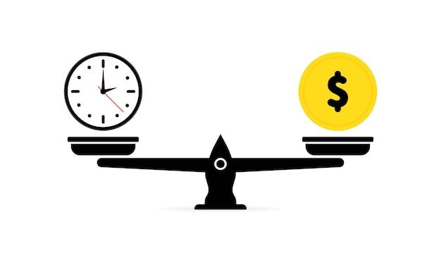 Zeit ist geld auf waage-symbol. konzept spart zeit, spart geld. geld- und zeitbilanz im maßstab