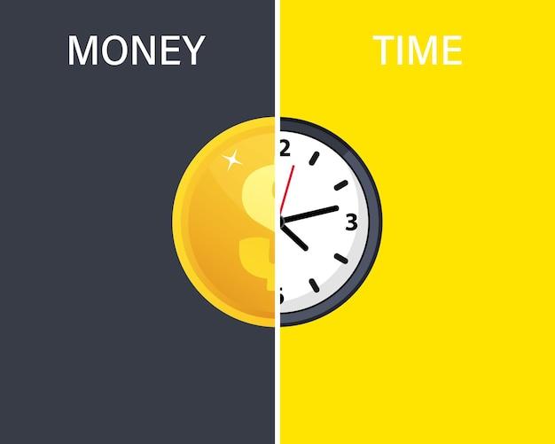 Zeit ist geld, geschäftshintergrund. uhr und münze