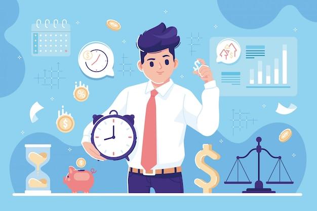 Zeit ist geld illustration hintergrund