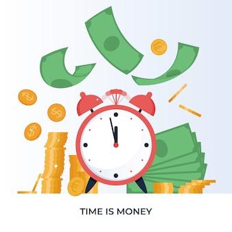 Zeit ist geld konzept finanzanlagen einnahmen erhöhen das budgetmanagement sparkonto