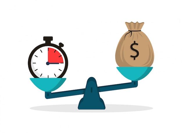 Zeit ist geld. uhr- und geldkonzept auf der waage im flachen stil. stoppuhr und geldsack.