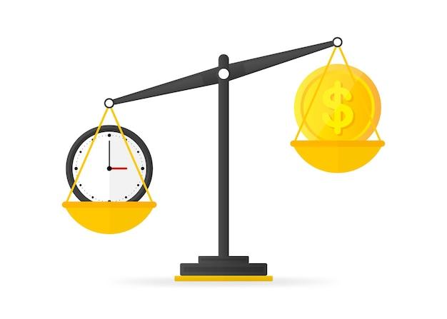 Zeit ist geldguthaben auf dem waagensymbol. vektor-illustration.