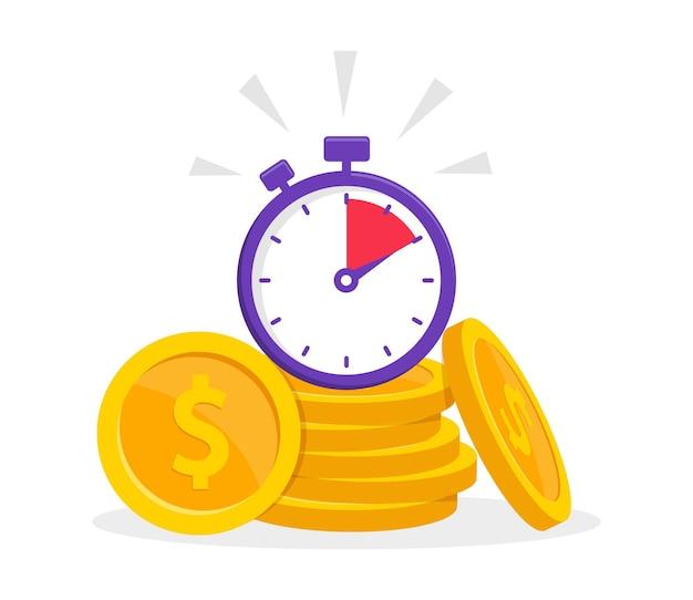 Zeit ist geldkonzept mit münzstapel und stoppuhr schneller kredit