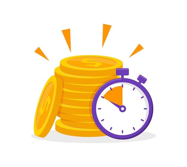 Zeit ist geldkonzept mit münzstapel und stoppuhr