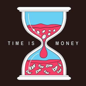 Zeit ist geldkonzept mit sanduhr im flachen linienstil