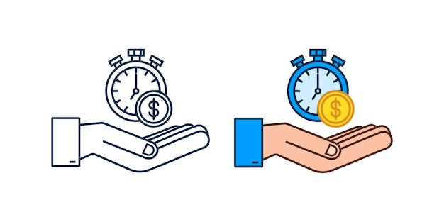 Zeit ist geldkonzept, uhr und münze in händen, langfristige finanzinvestitionen. vektor-illustration.