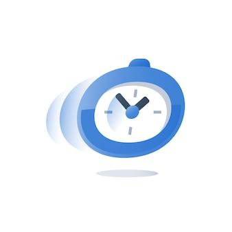 Zeit läuft, stoppuhr in bewegungsillustration