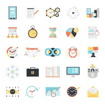 Zeit management icons set
