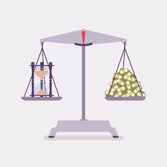 Zeit- und geldskalen sorgen für ein ausgewogenes verhältnis