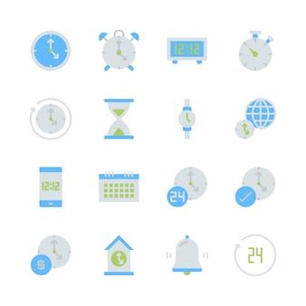 Zeit und uhr im flachen ikonensetdesign