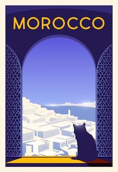 Zeit zu reisen. auf der ganzen welt. qualitätsplakat. marokko.