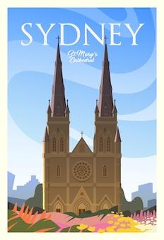 Zeit zu reisen. auf der ganzen welt. qualitätsplakat. st. mary's cathedral.