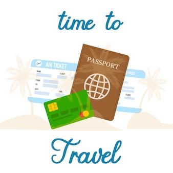 Zeit zu reisen, flache postkarte zu beschriften