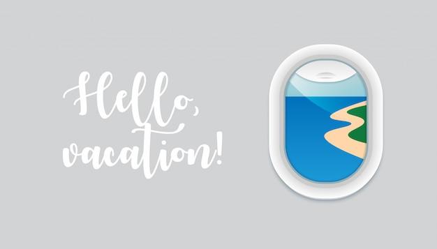 Zeit zu reisen konzept mit bullauge mit blick auf den erstaunlichen strand. flugzeugfenster innenansicht. flugzeug offenes fenster