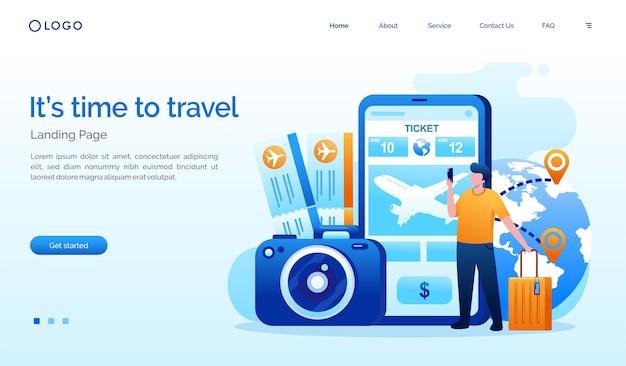 Zeit zu reisen landingpage website-vorlage