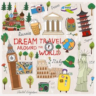 Zeit zu reisen mit sehenswürdigkeiten aus verschiedenen ländern