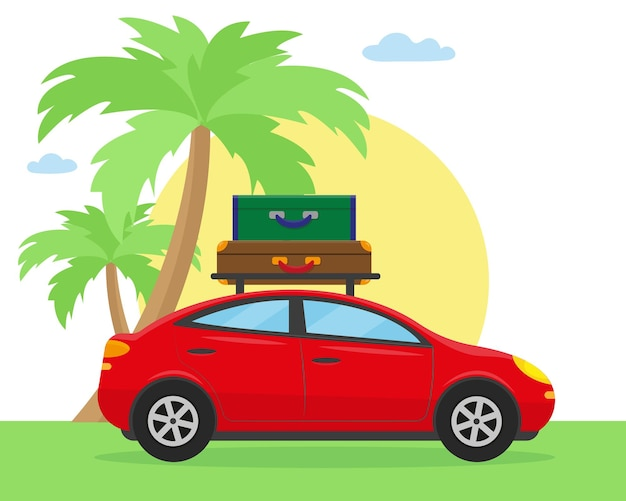 Zeit zu reisen oder mit dem auto zu reisen konzept