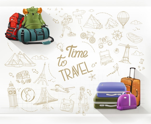 Zeit zu reisen. reise- und wanderinfografiken