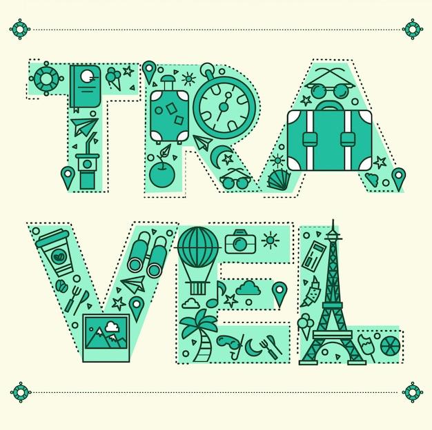 Zeit zu reisen. retro-beschriftung mit umriss-art-reisenden elementen