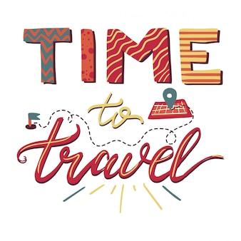 Zeit zu reisen-schriftzug