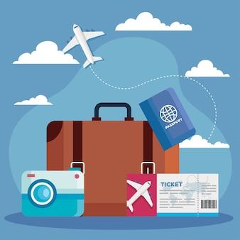 Zeit zu reisen tasche ticket pass und kamera design, reisetourismus und reisethema