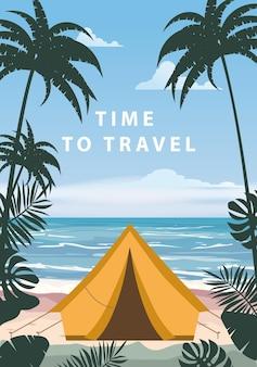 Zeit zu reisen touristenzelt camping am tropischen strand palmen sommerurlaub strand meer ozean