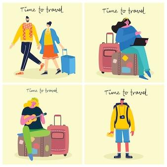 Zeit zu reisen. vektorillustration mit lokalisiertem jungen reisenden des reisenden in verschiedenen aktivitäten mit gepäck und touristischer ausrüstung im modernen flachen design