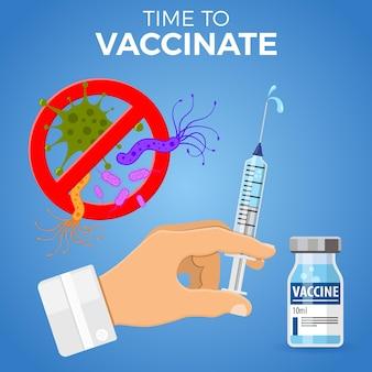 Zeit zum grippeimpfstoffkonzept. symbol medizinische spritze mit fläschchenimpfstoff, nadel und tropfen in die hand des arztes. flache stilikone. zeichen stoppen virus, mikroben. isolierte vektorillustration