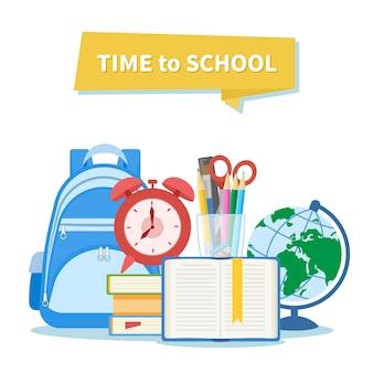 Zeit zur schule. bildungs- und lernkonzept. schulausrüstung.