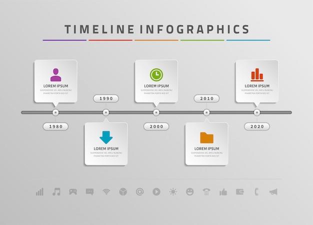 Zeitachse infografiken und icons vektor-design-vorlage.