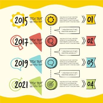 Zeitachse infographic in der hand gezeichnet