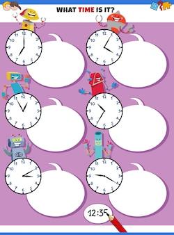 Zeiterziehungsaufgabe mit glücklichen robotern erzählen