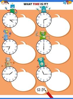 Zeiterziehungsaufgabe mit lustigen robotern erzählen