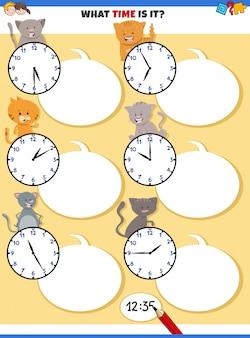 Zeiterziehungsaufgabe mit niedlichen katzen erzählen