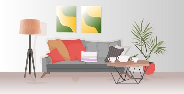 Zeitgemäßes wohnzimmer mit möbeln leer keine menschen wohnung interieur