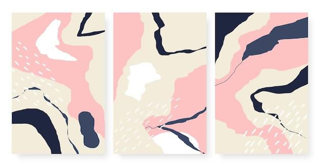 Zeitgenössische abstrakte minimalistische mustervorlage mit streifenrissformen eingestellt