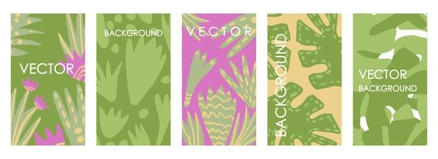 Zeitgenössische blumenhochzeitseinladungen und kartenvorlagendesign. moderne abstrakte vektor-set von abstrakten tropischen hintergründen für banner, poster, cover-design-vorlagen Premium Vektoren