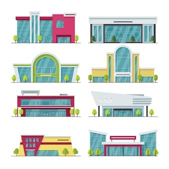 Zeitgenössische einkaufszentrum- und speichergebäudevektorikonen. färben sie shopmarkt, stadtsupermarkt-architekturillustration