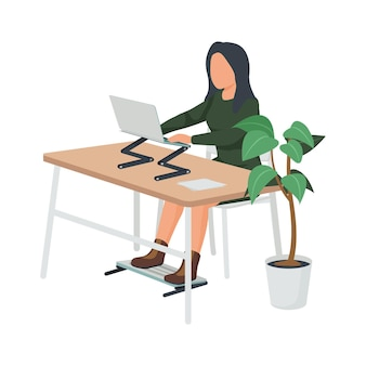 Zeitgenössische flache komposition des arbeitsplatzes mit einer frau, die am schreibtisch mit faltbarem ständer für laptop- und beinillustration sitzt