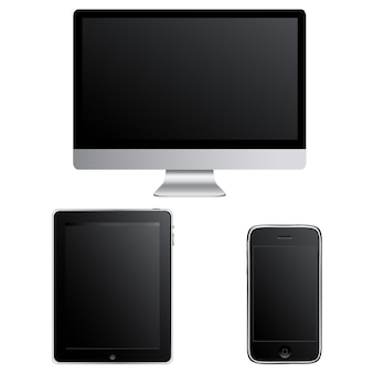 Zeitgenössische gadgets computer smartphone und touchpad pc isoliert