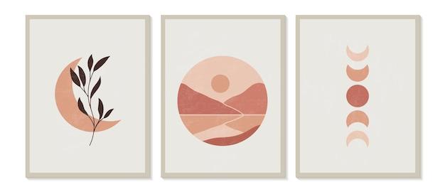 Zeitgenössische geometrische minimalistische berglandschaftszusammensetzung