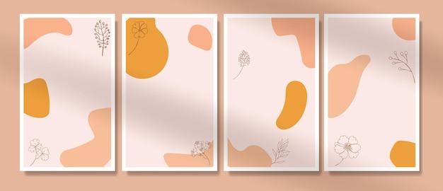 Zeitgenössische handgezeichnete boho potrait aus der mitte des jahrhunderts durchgängige linie minimalis botanische vorlagen
