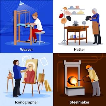 Zeitgenössische handwerker 4 flat icons square