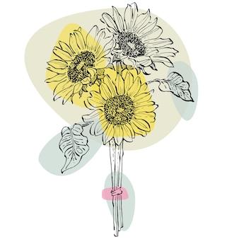 Zeitgenössische kunst blumen von sonnenblumen poster in trendigen farben. abstrakte handzeichnung von blumen und geometrischen elementen und strichen, blättern und blumen.