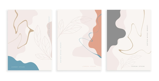 Zeitgenössische kunstplakate gesetzt mit fließendem linienentwurf