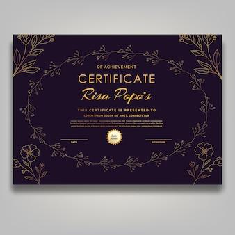 Zeitgenössische mitte des jahrhunderts strichzeichnungen goldene blume zertifikat luxus