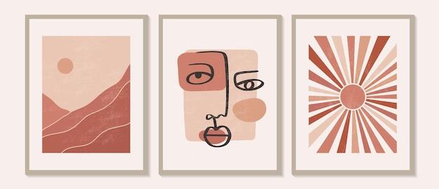 Zeitgenössische moderne minimalistische abstrakte berglandschaften ästhetische illustrationen